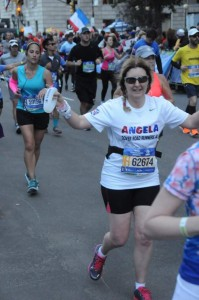 Angela running the New York Marathon 2016