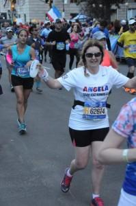 Angela running the New York Marathon 2016